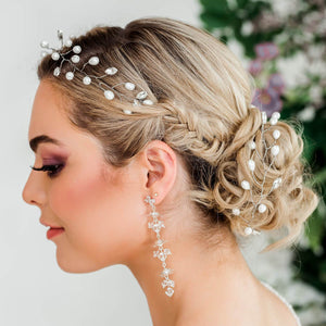 Silver Ivy Bridal Hair Vine Headpiece from side
