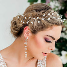 Load image into Gallery viewer, Silver Ivy Bridal Hair Vine Headpiece from side