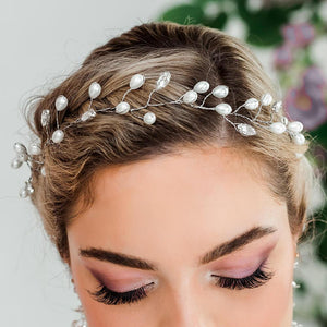 Silver Ivy Bridal Hair Vine Headpiece from top