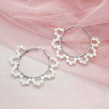 Load image into Gallery viewer, Jesy Pearl Hoop Earrings on pink