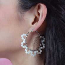 Load image into Gallery viewer, Jesy Pearl Hoop Earrings from side