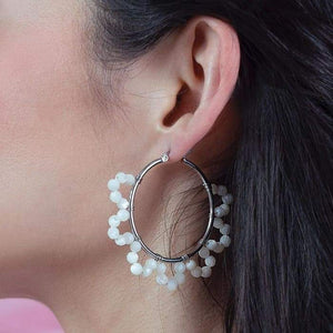 Jesy Pearl Hoop Earrings from side