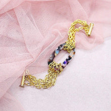 Load image into Gallery viewer, Multicolour Joss Gold Chain Bracelet on pink