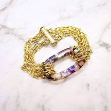 Load image into Gallery viewer, Multicolour Joss Gold Chain Bracelet on white