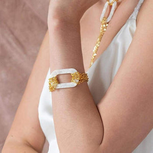 Ivory Joss Gold Chain Bracelet from close