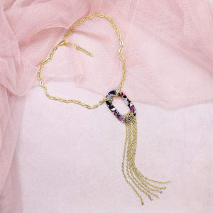 Multicolour Joss Gold Tassel Necklace on pink
