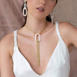 Ivory Joss Gold Tassel Necklace fronton