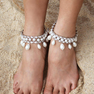 Silver Juno Bohemian Bridal Pearl Anklets from top