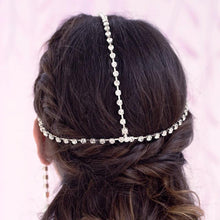 Load image into Gallery viewer, Silver Juno Bohemian Bridal Pearl Headpiece from back