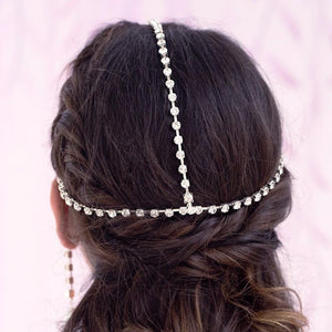 Silver Juno Bohemian Bridal Pearl Headpiece from back