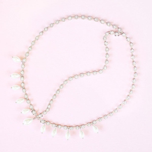 Silver Juno Bohemian Bridal Pearl Headpiece on pink