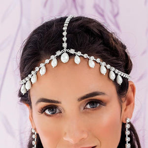 Silver Juno Bohemian Bridal Pearl Headpiece from front