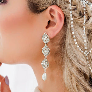Silver Kaya Bridal Pearl Drop Earrings from close