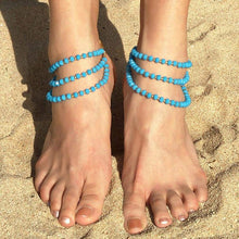 Load image into Gallery viewer, Turquoise Kelana Bohemian Bead Anklets from front