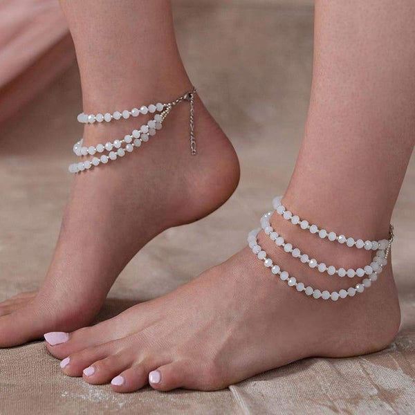 White Kelana Bohemian Bead Anklets from side