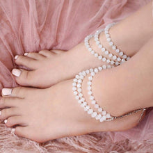 Load image into Gallery viewer, White Kelana Bohemian Bead Anklets from top