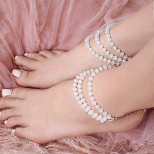 White Kelana Bohemian Bead Anklets from top