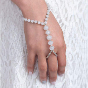 White Kelana Bohemian Bracelet Ring from close
