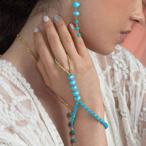 Turquoise Kelana Bohemian Bracelet Ring from close