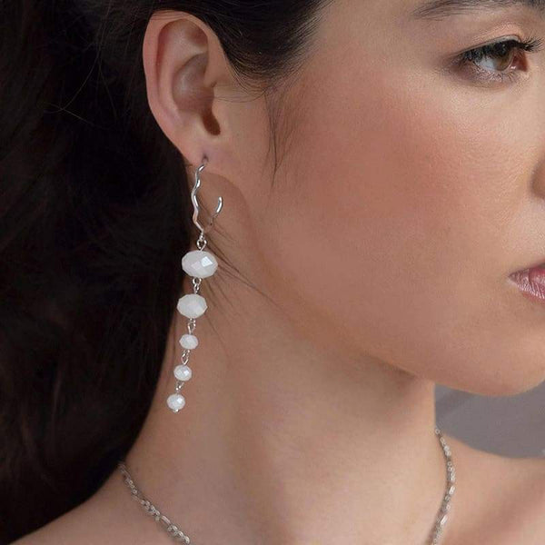White Kelana Dangle Bead Earrings from side