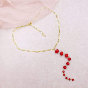 Red Kelana Bohemian Backdrop Necklace on pink