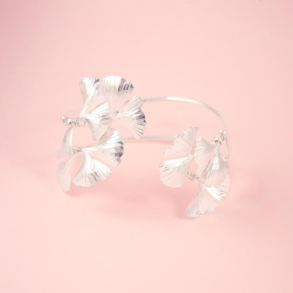 Silver Kiko Gingko Leaf Cuff Bracelet on pink