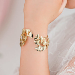 Gold Kiko Gingko Leaf Cuff Bracelet from close