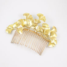 Load image into Gallery viewer, Gold Kiko Bridal Hair Comb on grey