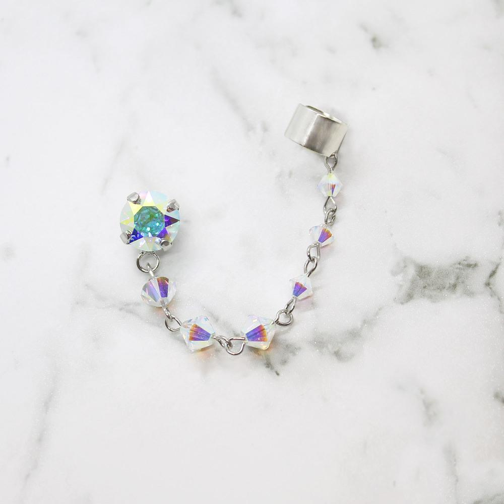 Rainbow Kira Crystal Ear Climber on white