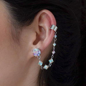 Rainbow Kira Crystal Ear Climber from side
