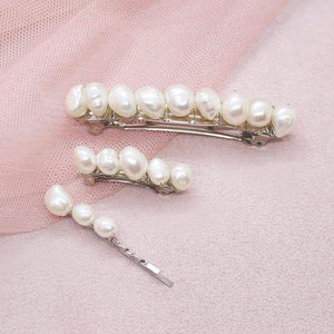 Kygo freshwater pearl hair pins set on pink
