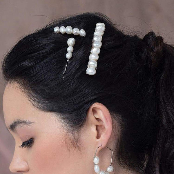 Kygo freshwater pearl hair pins set from side
