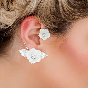 Silver Leilani Statement Floral Ear Climber from side