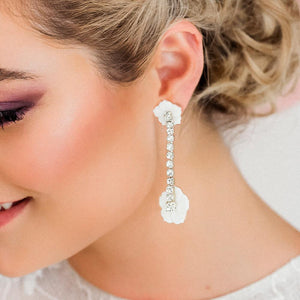 Silver Leilani Floral & Crystal Earrings from close