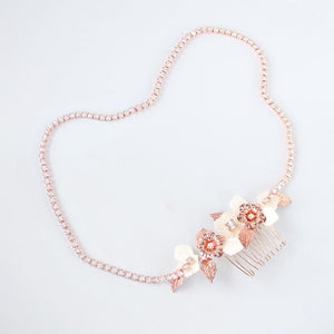 Rose gold Leilani Flower Bridal Comb & Crystal Chain on grey