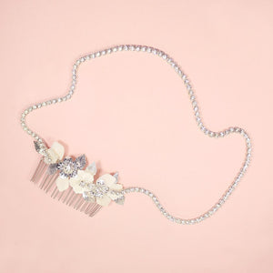 Silver Leilani Flower Bridal Comb & Crystal Chain on pink