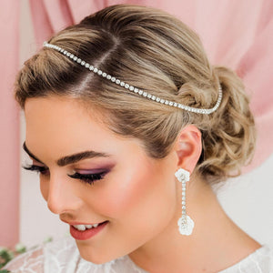 Silver Leilani Flower Bridal Comb & Crystal Chain from front