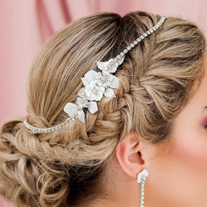 Silver Leilani Flower Bridal Comb & Crystal Chain from side