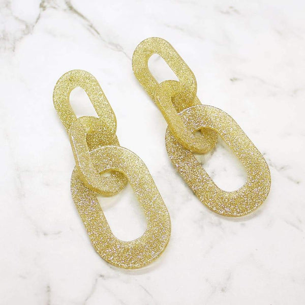 Locked Out of Heaven Glitter Earrings gold