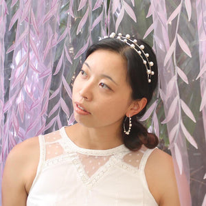 Silver Lulu Double Pearl Bridal Headband from front