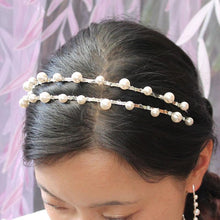 Load image into Gallery viewer, Silver Lulu Double Pearl Bridal Headband from top