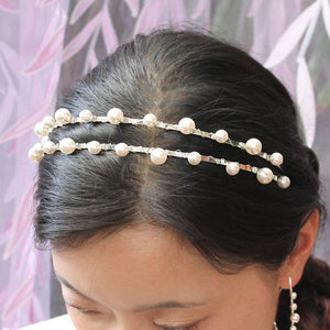 Silver Lulu Double Pearl Bridal Headband from top
