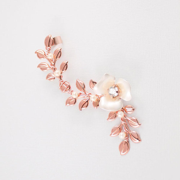 Rose gold Lyra Vine Ear Cuff on grey