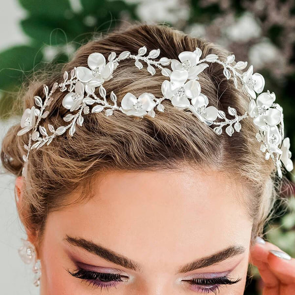 Silver Lyra Flower Bridal Crown from front
