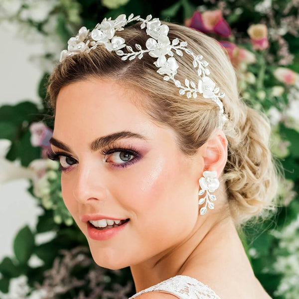 Silver Lyra Flower Bridal Crown from side