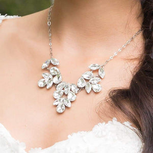 Crystal clear Marilyn Crystal Statement Necklace on neck