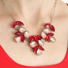 Load image into Gallery viewer, Red & pink Marilyn Crystal Statement Necklace on neck