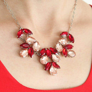 Red & pink Marilyn Crystal Statement Necklace on neck