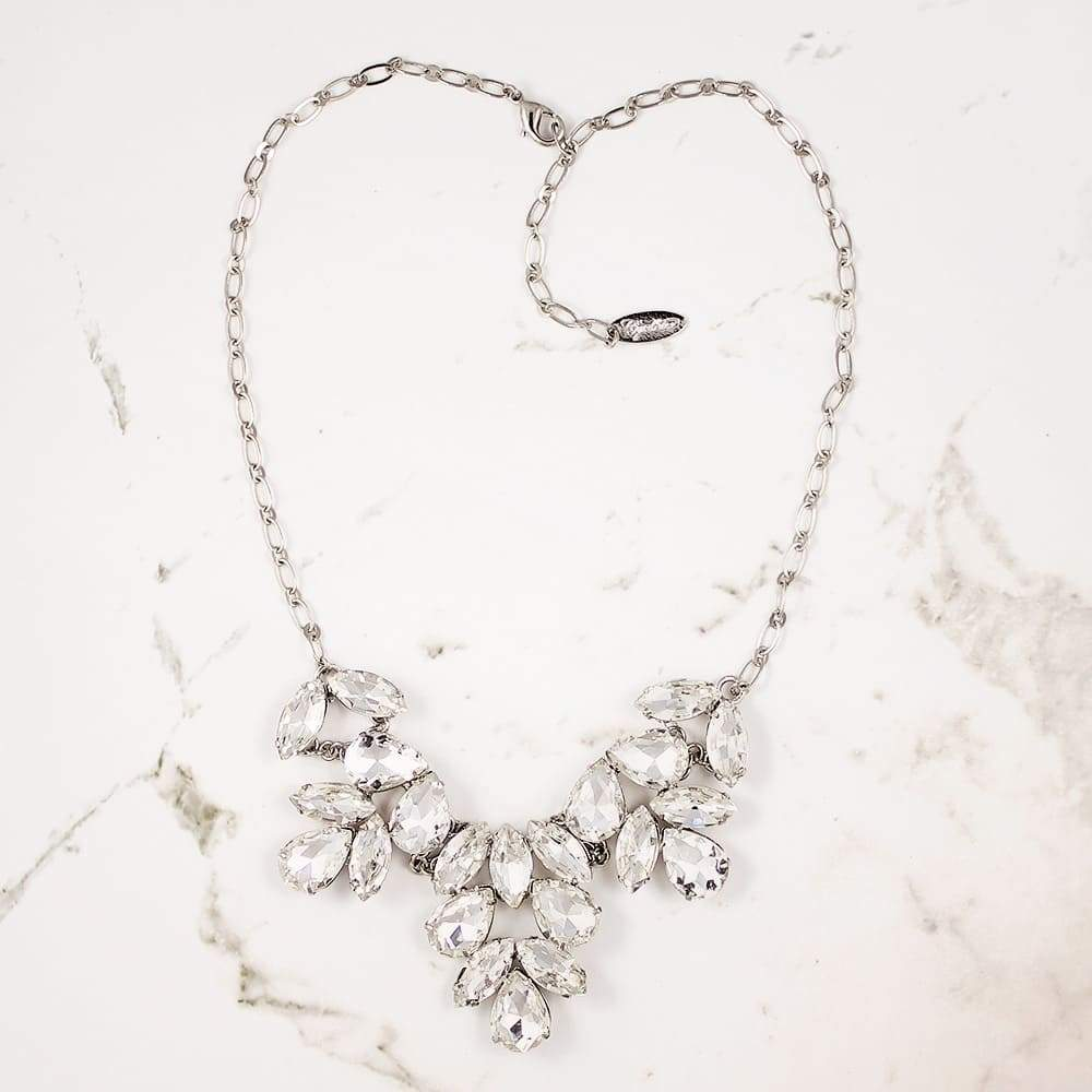 Crystal clear Marilyn Crystal Statement Necklace on grey