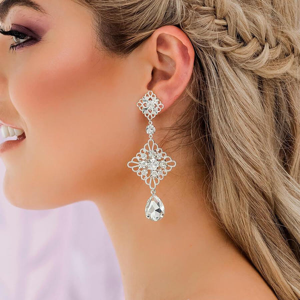 Silver Nicola Boho Chandelier Bridal Earrings from side